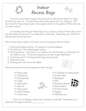 Indoor Recess Bags-Freebie- A family letter requesting items from home