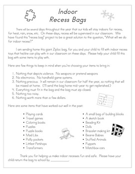 Indoor Recess Bags-Freebie- A family letter requesting ite