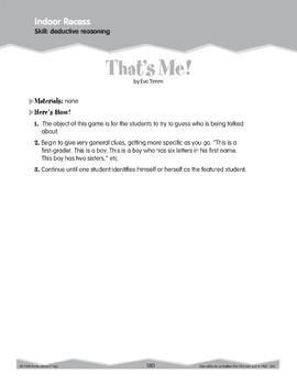 Indoor Recess: Deductive Reasoning (Ten-Minute Activities)