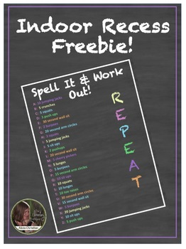 Indoor Recess Freebie - Spell it and Work Out