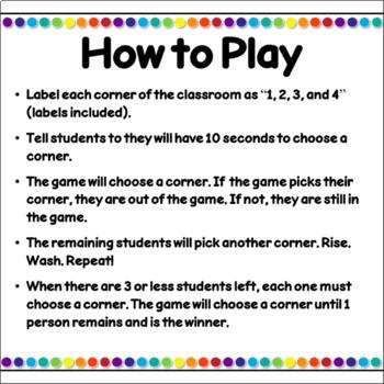Indoor Recess Game Four Corners