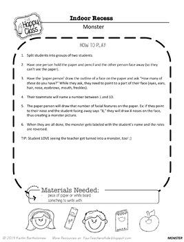 Indoor Recess Ideas- EASY and CREATIVE