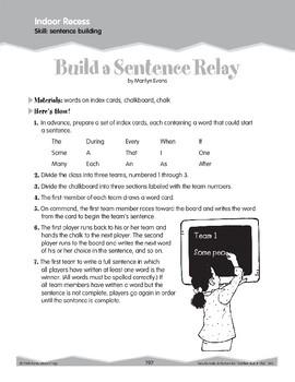 Indoor Recess: Sentence Building (Ten-Minute Activities)
