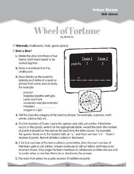 Indoor Recess: Vocabulary Game (Ten-Minute Activities)