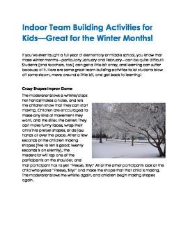 Indoor Team Building Activities For Winter Tpt