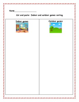 Indoor and outdoor games sorting + Extra fun