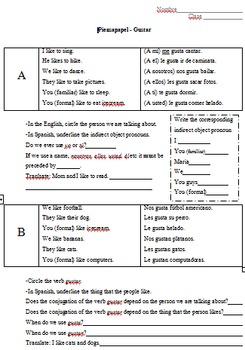 Inductive Spanish Grammar - gustar
