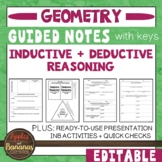 Inductive and Deductive Reasoning- Guided Notes and INB Ac