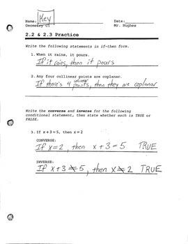 Geometry - Inductive vs. Deductive Reasoning Practice Worksheet