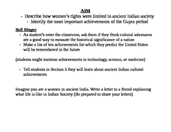 Indus River Valley (Guptas) Life and Culture- Women's graphic organizer