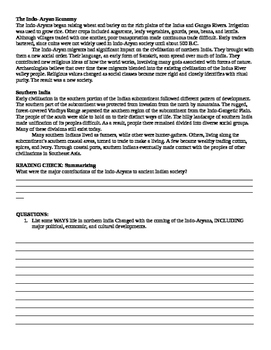 Indus River Valley:Indo-Aryan Migrants Guided Reading and Worksheet