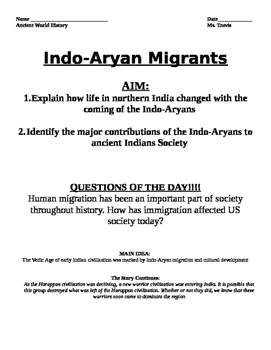 Indus River Valley:Indo-Aryan Migrants Guided Reading and