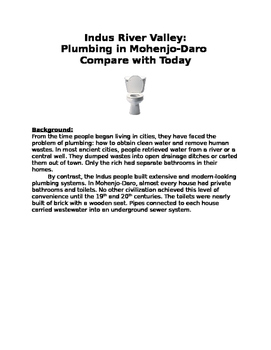Indus River Valley: Plumbing in Mohenjo-Daro compare with today worksheet!