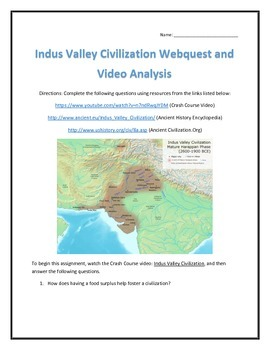 Indus Valley Civilization- Webquest and Video Analysis with Key