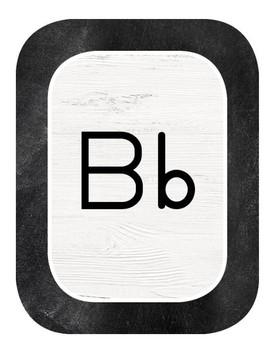 Chalkboard Industrial Chic Farmhouse Classroom Decor ALPHABET CARDS manuscript