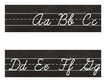 CHALKBOARD Industrial Chic Farmhouse Style Classroom Decor ALPHABET LINE Cursive