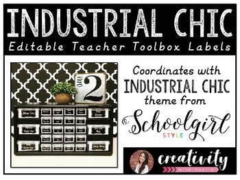 Industrial Chic Teacher Toolbox Labels (Editable PowerPoint)