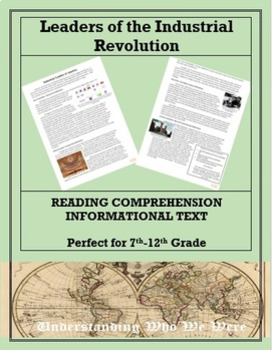 Leaders of the Industrial Revolution--Informational Text Worksheet