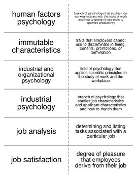 Industrial Organizational Psychology Flash Cards For Psychology