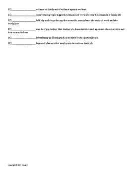 Industrial Organizational Psychology Quiz or Worksheet for Psychology