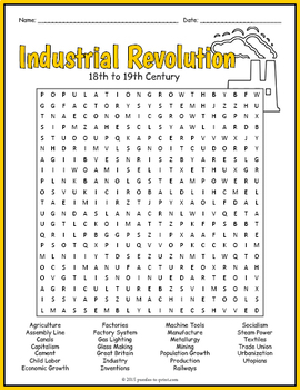 Industrial Revolution Word Search