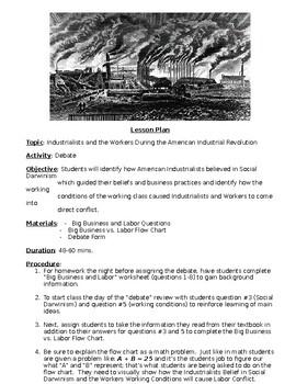 Industrial Revolution Big Business and Labor Debate Activity