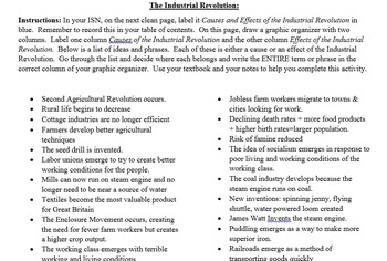 Industrial Revolution Cause-and-Effect