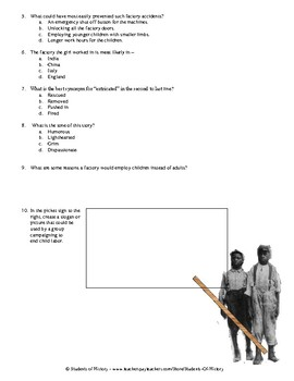 Industrial Revolution Child Labor Story with Questions
