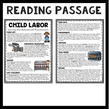 Industrial Revolution Child Labor Reading Comprehension