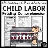 Industrial Revolution Child Labor Reading Comprehension Worksheet DBQ