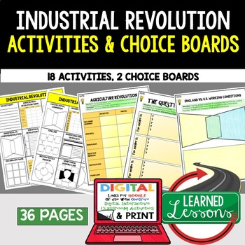 Industrial Revolution Choice Board Activities (Paper and Google) World History