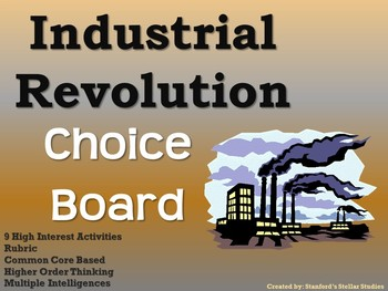 Industrial Revolution Choice Board Social Studies Activity Menu Project Rubric