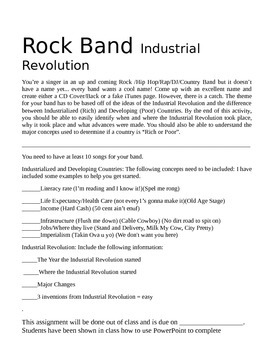 "Industrial Revolution ""Create a Rock Band"" Assignment"