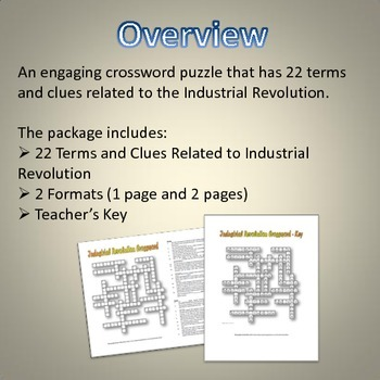 Industrial Revolution - Crossword Puzzle and Key (22 Terms and Clues)