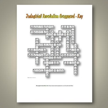Industrial Revolution Crossword Puzzle And Key 22 Terms