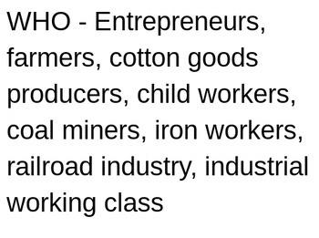 Industrial Revolution Information Chart