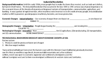 Industrial Revolution Intro Reading and Graphic Organizer