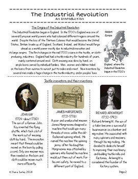 Industrial Revolution Introduction Illustrated Texts, Activities Grades 5-7