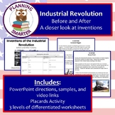 Industrial Revolution Inventions: Before / After with differentiated worksheets