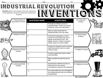Industrial Revolution Inventions Handout Tpt