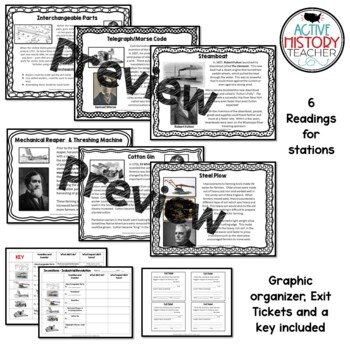 Industrial Revolution Inventions Stations w/ Graphic Organizer & Exit Ticket