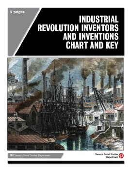 Industrial Revolution Inventors and Inventions Chart and Key