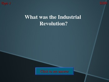 Industrial Revolution Jeopardy Game