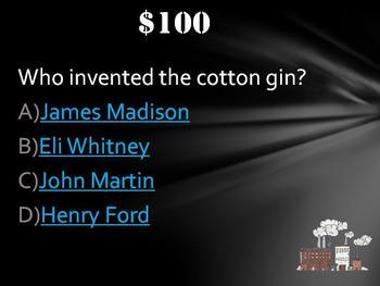 Industrial Revolution Jeopardy Trivia Game Fun Stuff!