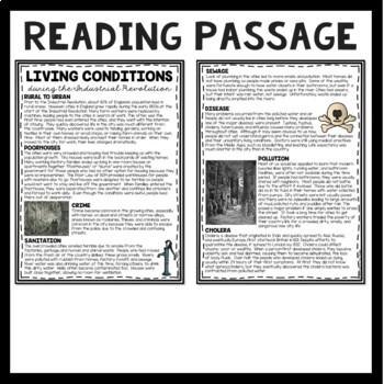 Industrial Revolution Living Conditions Reading Comprehension Worksheet, DBQ