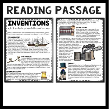 Industrial Revolution Machine Inventions Article and DBQ Questions