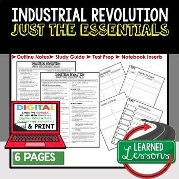 Industrial Revolution Outline Notes JUST THE ESSENTIALS Unit Review