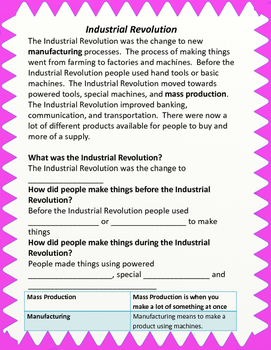 Industrial Revolution Packet for US History