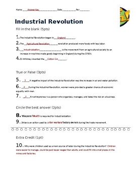 Industrial Revolution Pop Quiz
