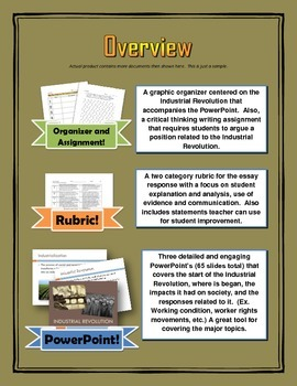 Industrial Revolution - PowerPoint's plus Writing Assignment / Graphic Organizer